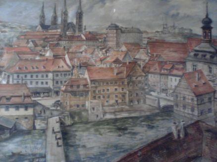 Pintura da Cidade de Bamberg, situada na sala de recreação do Santuário do Carmo (Acervo: Ordem do Carmo)